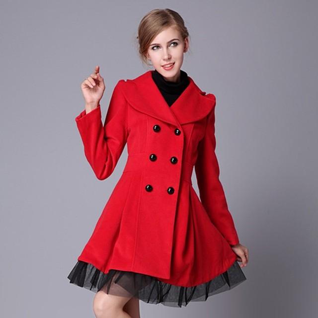 00f244979 Lã completa Casaco Blusa De Frio mulheres Casaco De inverno Casaco Breasted  Casaco vestido longo Peacoat