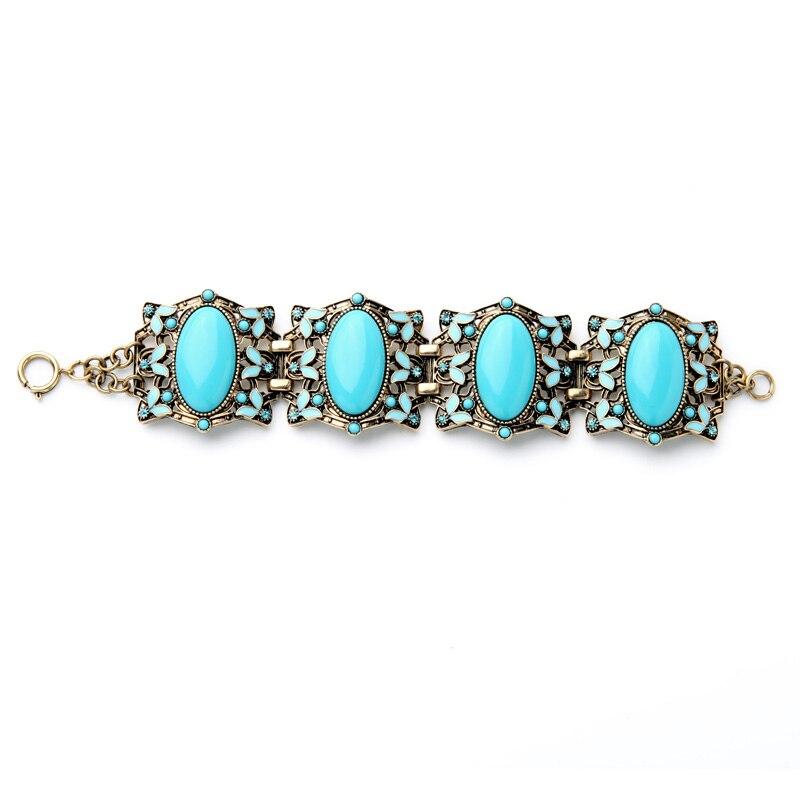 Blue Oval Imitation Gemstone Fashion Antique Wide Bracelet Online Ping India Maxi Pulseras China