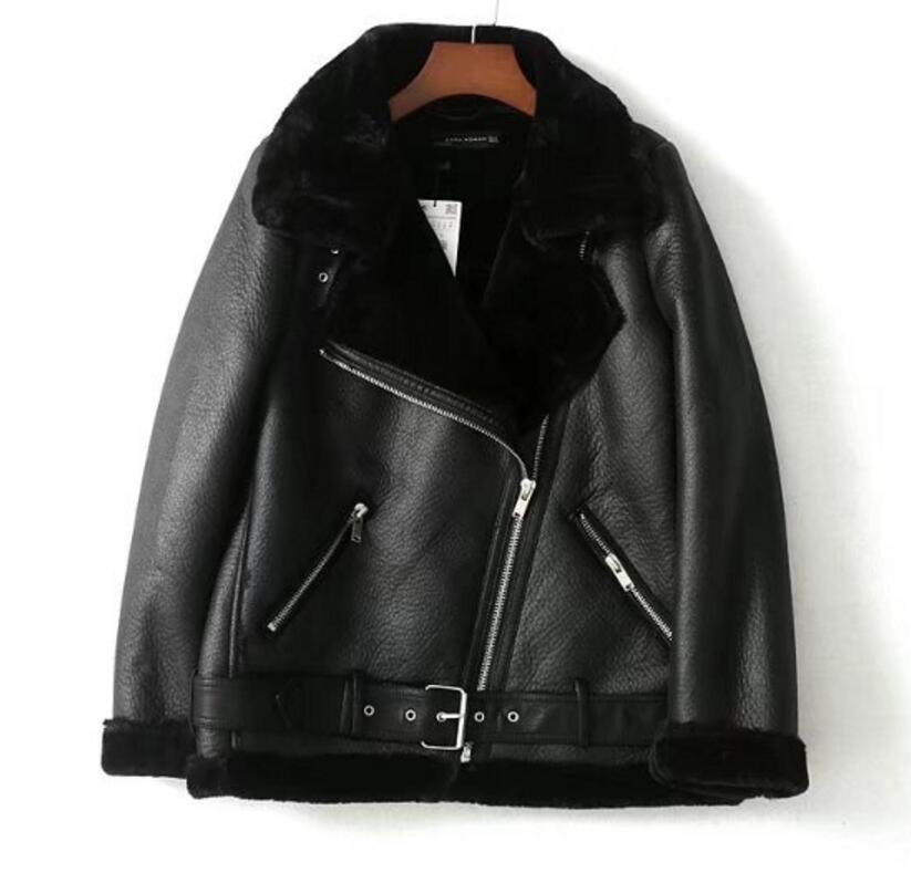 2019 Winter Women Sheepskin Coats Thicken Faux Leather Fur Female Coat Fur Lining Leather Jacket Aviator Jacket Casaco Feminino