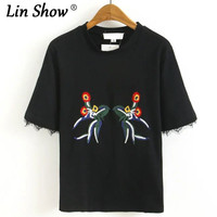 LINSHOW New Fashion Embroidery Tassel Toyouth Summer Women T Shirt Black Gray O Neck Women Tshirt