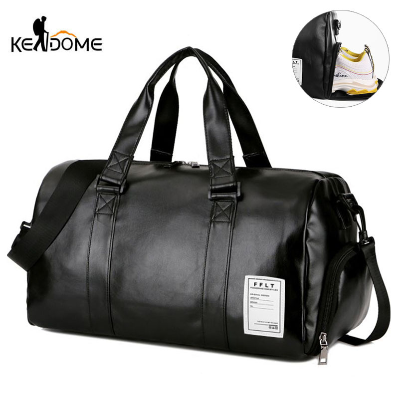 Gym Bag Leather Sports Bags Big MenTraining Tas For Shoes Lady Fitness Yoga Travel Luggage Shoulder Black Sac De Sport XA512WD(China)