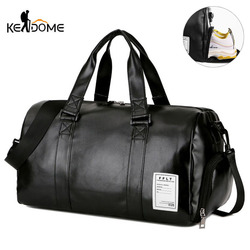 Gym Bag Leather Sports Bags Big MenTraining Tas for Shoes Lady Fitness Yoga Travel Luggage Shoulder Black Sac De Sport XA512WD