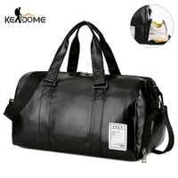 Gym Bag Leather Sports Bags Big MenTraining Tas for Shoes Lady Fitness Yoga Travel Luggage Shoulder Black Sac De Sport XA512WD