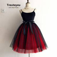 Retail Wholesale Custom Made 8 Layers Mesh Tutu Skirt Fluffy Midi Prom Tulle Skirts Two Tone