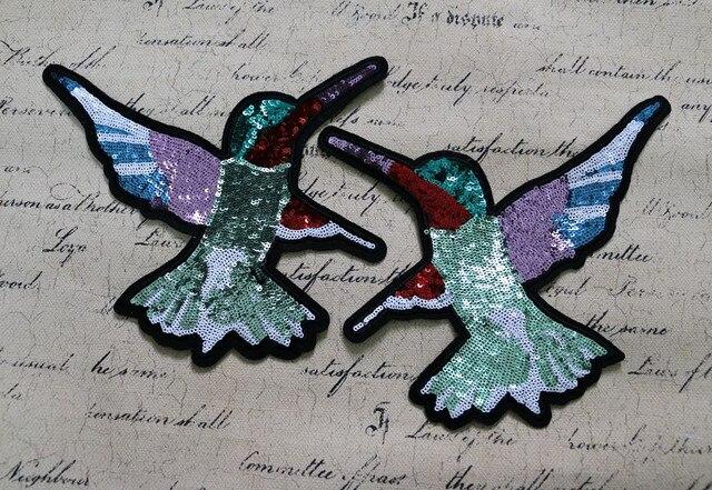 Doppie uccelli paillettes applique patch di paillette ricamato patch