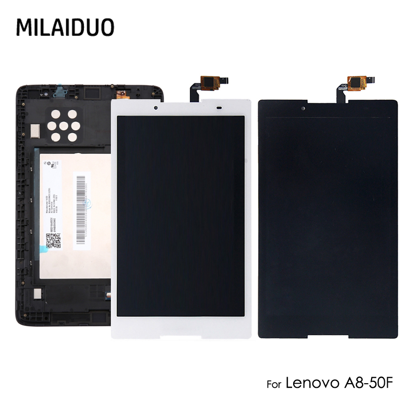 Touch Screen Digitizer Assembly With Frame For Lenovo Tab 2 A8-50 A8-50f A8-50lc White No Logo High Quality Goods Tablet Accessories Used Parts Lcd Display Computer & Office