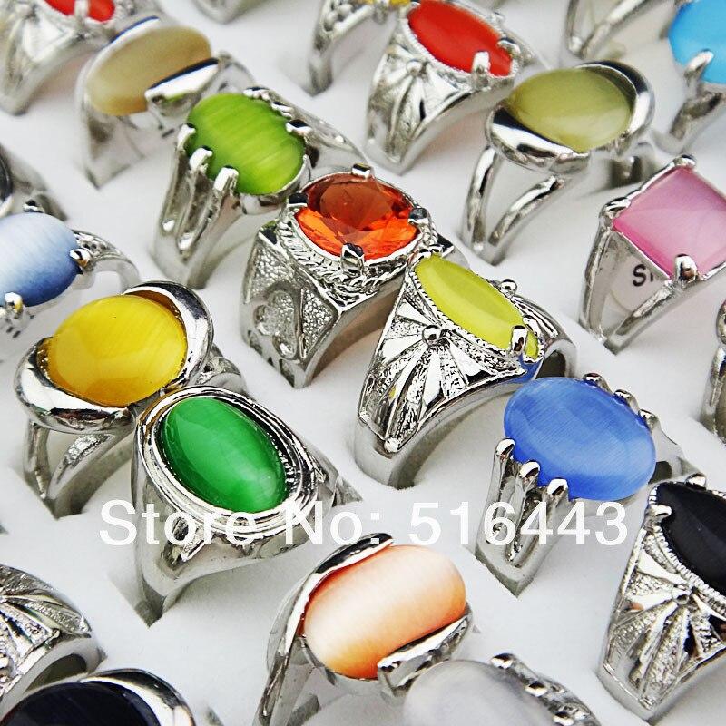 Mens Rings Stones Wholesale Jewelry Fashion Women Lots 10pcs Cat-Eye Paltinum-Plated