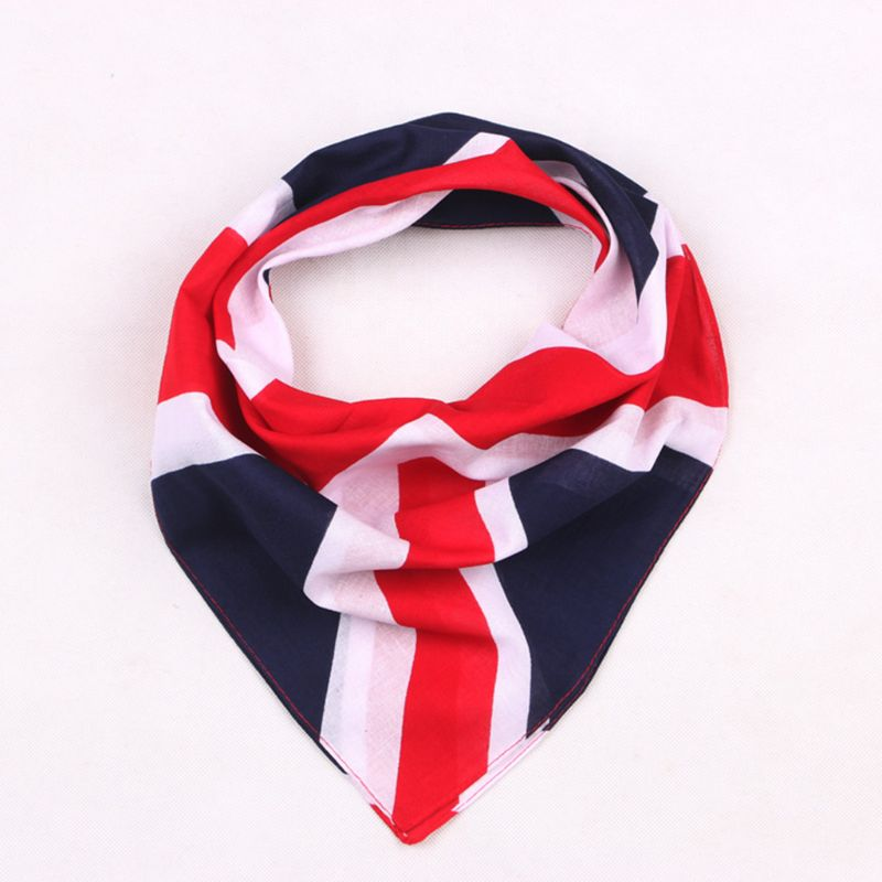 54x54cm Unisex British Flag Union Jack Biker Square Bandana Football Fans Carnival Cotton Head Wrap Hip Hop Dancing Handkerchief