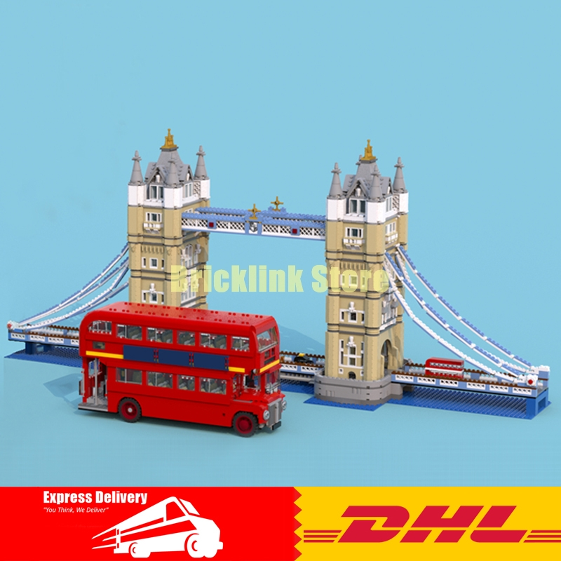 LEPIN 17004 London Tower Bridge+ 21045 London Bus Building Block Set Kit Bricks Christmas Gift Clone 10214 10258 lepin 21045 united kingdom britain london double decker bus building kit blocks bricks toy for gift 10258