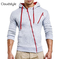 Cloudstyle 2018 Newest Design Fashion Men Zipper Hoodies Long Sleeve Slim Letter Print Packet Men Pullover