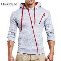 Cloudstyle 2018 Newest Design Fashion Men Zipper Hoodies Long Sleeve Slim Letter Print Packet Men Pullover
