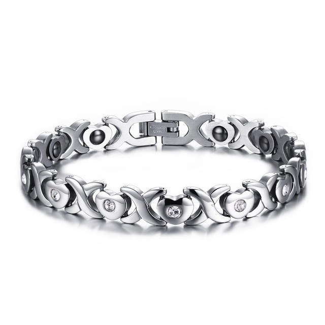 Magnetic Stone Golf Bracelet With Cz Love Hearts Stainless Steel Link Chain Bangle Braslet Brackelts Lady S