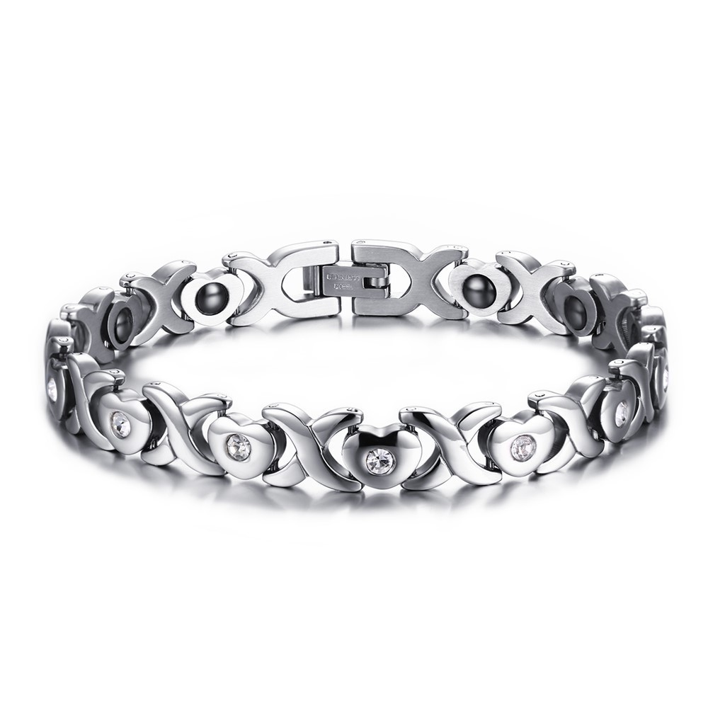 Magnetic Stone Golf Bracelet with CZ Love Hearts Stainless Steel Link Chain Bangle Braslet brackelts Ladys Gift 8.26