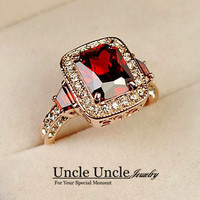 18K Real Gold Plated Perfect Cut Red Ruby Rectangle Austrian Crystal Luxury Lady Wedding Finger Ring