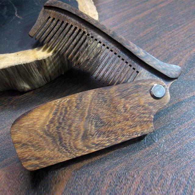 New Arrival Black Sandalwood Fine Tooth Pocket Folding Comb All Hair Types Beard Mustache Brush 1