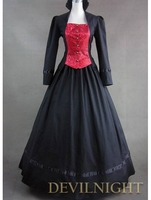 Vintage Red and Black Long Sleeves Buttons Gothic Victorian Dress antique french victorian dresser