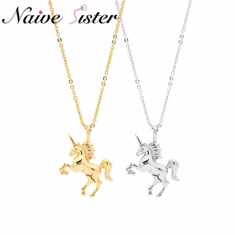 Luxury Real 925 Sterling Silver Unicorn Pendant Necklace Cute Pendants Necklaces For Women Fashion Pegasus Jewelry Best Gift
