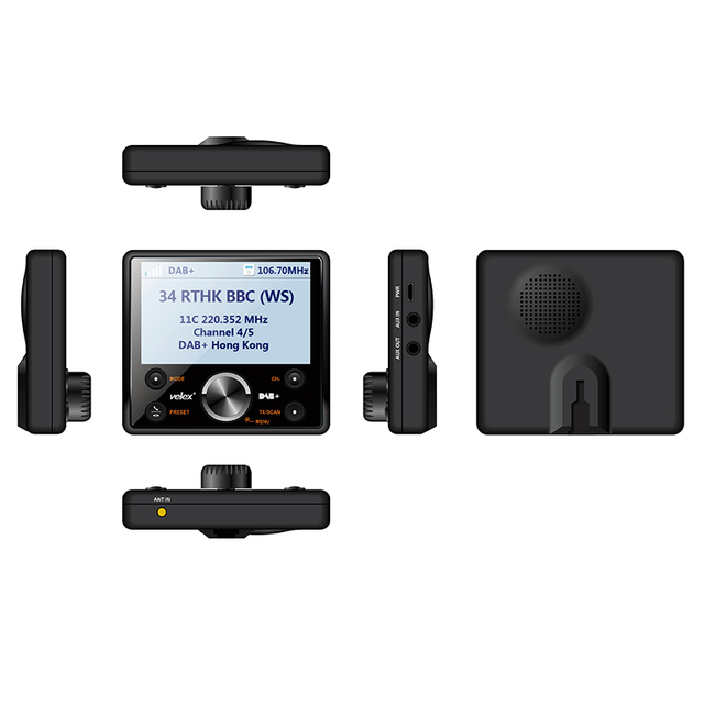 Digital Vehicle DAB+ Digital Radio with FM Transmitter & Bluetooth Hands-Free DAB+ Radio Tuner With Audio Output Include Antenna