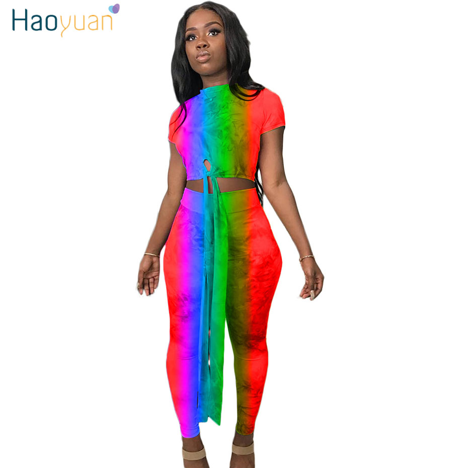 HAOYUAN Tie Dye Plus Size Two Piece Set Women Sexy Club Outfits Summer Clothes Crop Top and Bodycon Pant Festival Matching Sets