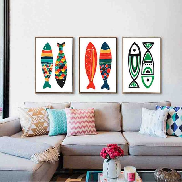 Modern Mediterranean Style Wall Painting Posters Abstract Colorful Fish Simple Art Canvas For Nursery Kid S Room Decor