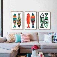 Modern akdeniz tarzı duvar boyama posterler soyut renkli balık simple art kreş çocuk odası dekor için tuval boyama