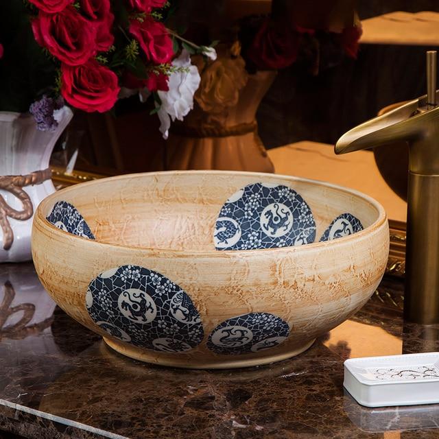 US $215.82 10% OFF|Porzellan Europa Vintage Style Art waschbecken Keramik  Arbeitsplatte Waschbecken Badezimmer Waschbecken arbeitsplatte badezimmer  ...