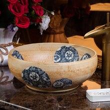 Porcelana estilo antiguo, Europeo arte lavabo encimera de cerámica lavabo baño encimera lavabo