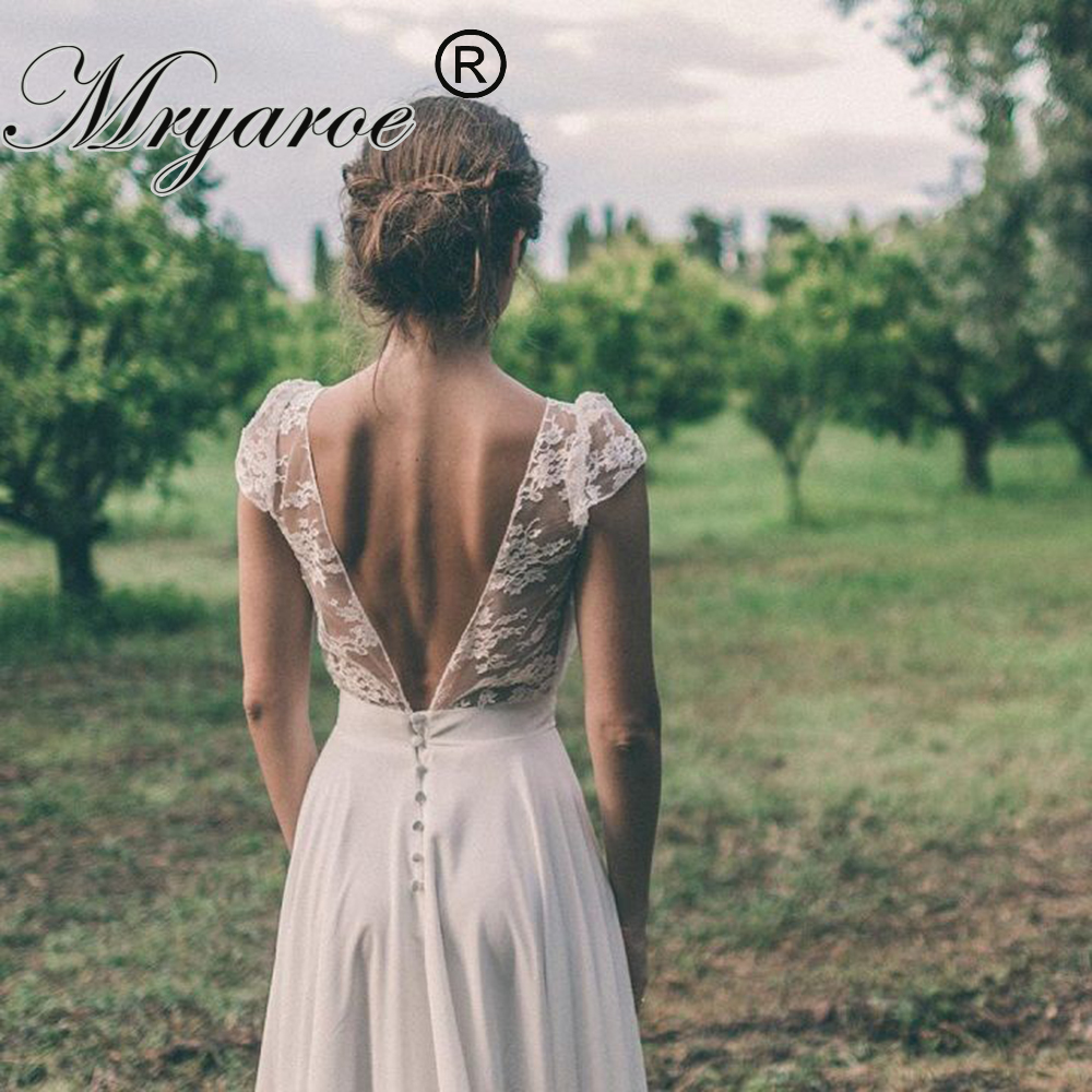 Mryarce Country Style Rustic Wedding Dress Scoop Lace Short Sleeves Chiffon A Line Open Back Bridal