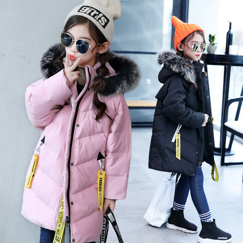 Children down jacket coat pink 2017 winter thick warm fashion hooded long outerwear for 4 5 6 7 8 9 10 11 12 13 14 years girl children cowboy jacket coat hooded 2017 winter new tide thick cashmere long outerwear size 4 5 6 7 8 9 10 11 12 13 years girl