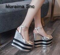 Moraima Snc luxury shoes women summer platform sandals mixed colors 16 cm high heels sandals shoes rivet peep toe wedges sandals