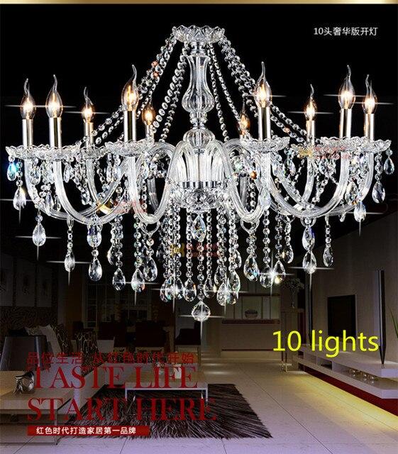Home crystal lights & lighting chandelier 8/10 pcs E14/E12 Candle holders luminaria modern led chandelier bedroom dining light