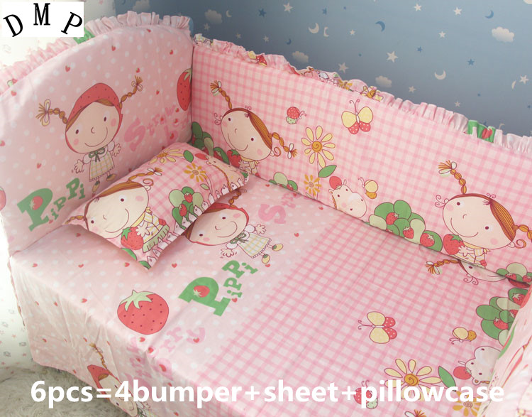 Promotion! 6pcs Cotton Pink Baby Bedding Set Cartoon Crib Bedding Set  ,include (bumpers+sheet+pillow cover)