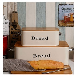 1/2 Pcs/Set Bread Storage Tank Iron Househould Moisture-proof Cover Sealing Kitchen Utensils Multifunction White Yellow
