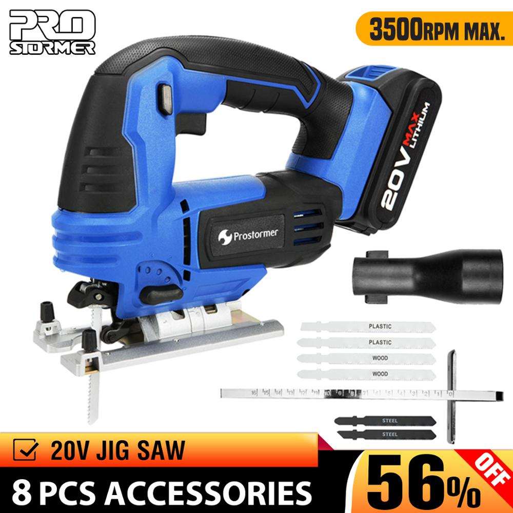 PROSTORMER 20V Jig Saw Power Tool Cordless Jigsaw Quick Blade Change Electric Saw LED Light Guide With 6 Pcs Blades WoodworkingPROSTORMER 20V Jig Saw Power Tool Cordless Jigsaw Quick Blade Change Electric Saw LED Light Guide With 6 Pcs Blades Woodworking