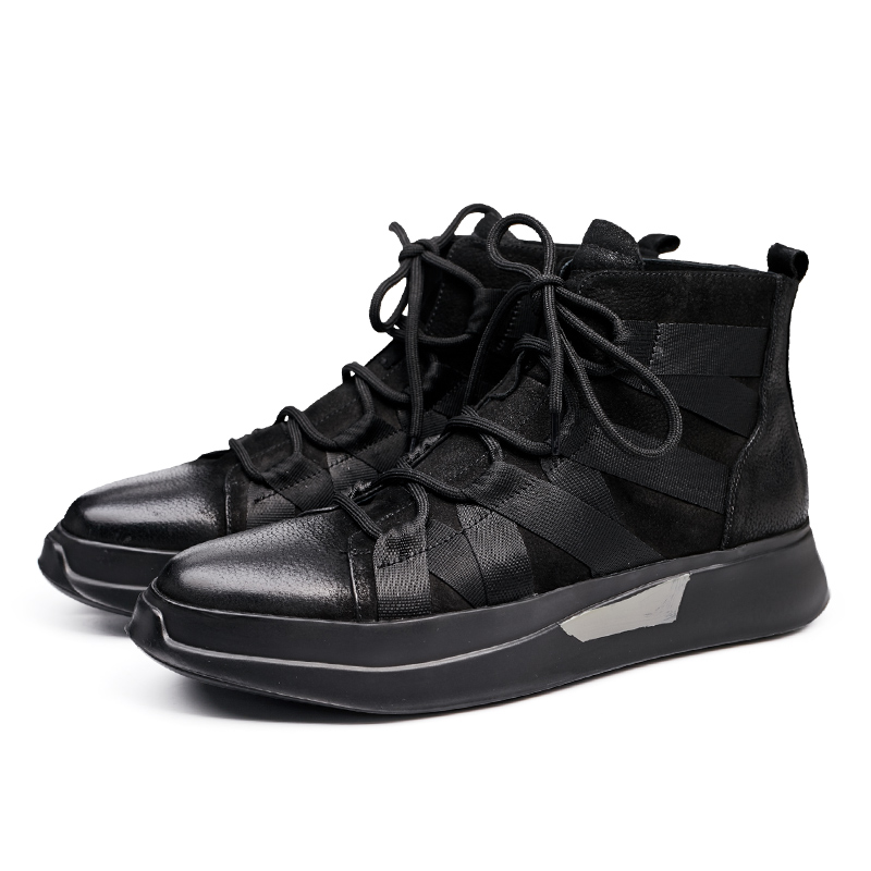 Mens shoes black nubuck leather shoes in autumn and winter leisure sports boots all-match thick bottom breathable shoes men