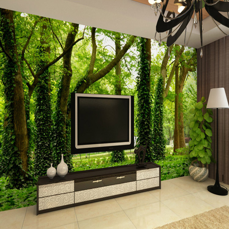 Customized personalized custom 3D large mural of forest tree living room sofa TV fabric wallpaper wallpaper library Restaurant customized home personalized seamless integration of the abstract paintings lotus wallpaper 1x3m