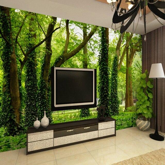 Kundenspezifische Personalisierte Benutzerdefinierte 3D großes Wandbild von  Wald Baum Wohnzimmer Sofa TV Stoff Tapete Bibliothek Restaurant