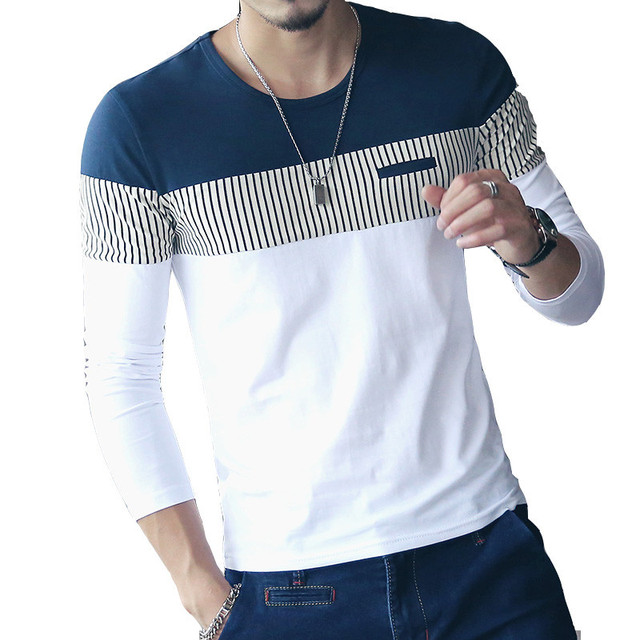 New Mens T shirts Autumn Fashion Patchwork T-shirt Men Spell Color Round Neck Long Sleeve Male Shirt Top Tees M-5XL
