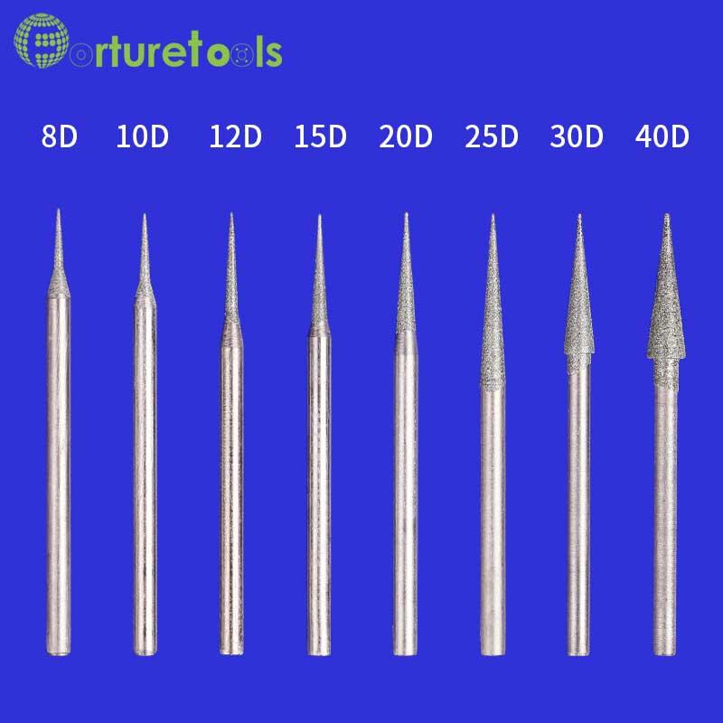 50 stks diamant gemonteerde punt slijpkop dremel roterende tool voor - Schurende gereedschappen - Foto 2