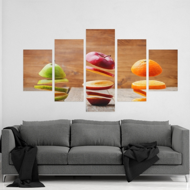 HD Printed Modular Abstract Pictures Frame Canvas 5 Panel Sliced Fruit Home  Decor Kitchen U0026 Restaurant