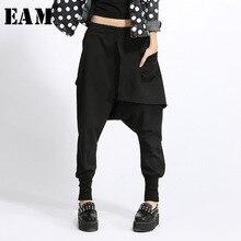 [EAM] 2020 nowa wiosna wysokiej w pasie z czarnymi kieszeniami podziel wspólne luźne szarawary kobiet spodnie mody fala JH030