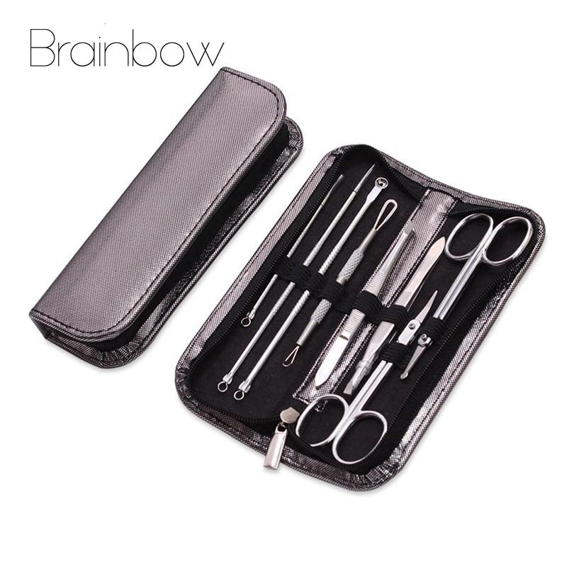 цена на Brainbow 8pc Face Care Tools Set Blackhead Blemish Extractor Pimple Remover Makeup Scissor Blackhead Removal Tweezer Acne Needle