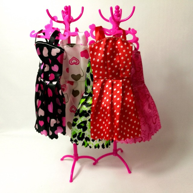Pink Set Mix Hangers Coat Rack Accessories For Barbie Clothes Dress
