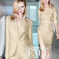 Gold thread woven Golden jacquard tapestry satin fall haute couture fashion fabric telas vintage bright cloth tissu au meter