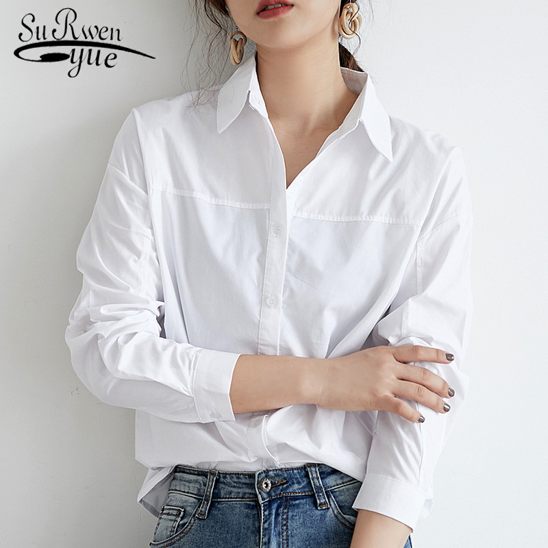 Fashion Women Blouses Long Sleeve Women Shirts White Blouse Women Turn Down Collar Office Blouse Womens Tops And Blouses 2519 50