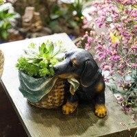 Desktop Cartoon Flower Pot Indoor Diy Resin Kawaii Small Dog Shaped Succulents Plants Flower Pot Garden Decorative Planter Black