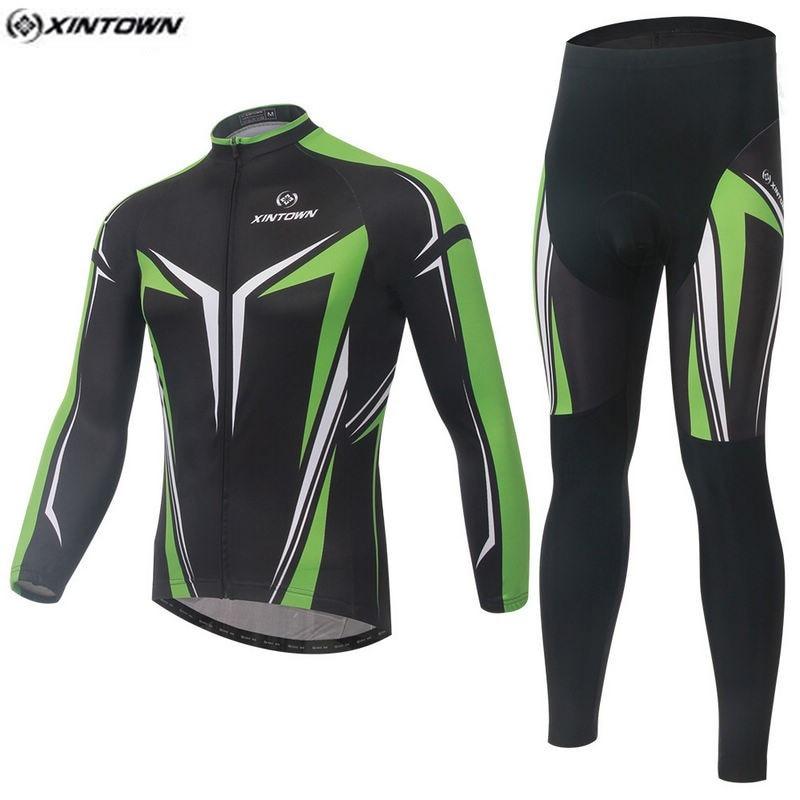 Hot XINTOWN Men Green MTB Bike jersey Bib Pants Sets Black Pro Team Cycling clothing Riding Wear Long Sleeve Shirts Coolmax