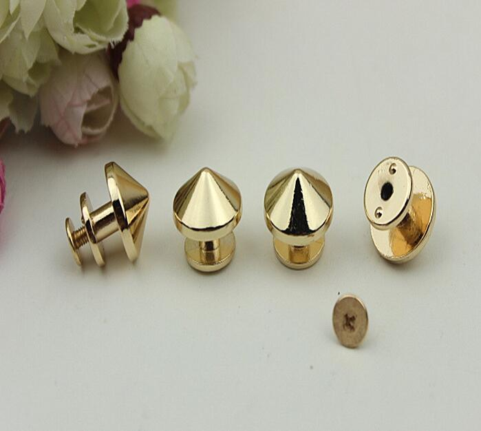 (10 PCS/lot) DIY hardware plating processing leather handbags of high quality screw pointed nails warhead decorative accessories 6 pcs lot diy hardware plating processing leather handbags straps on both sides of the chain belt buckle decorative accessori
