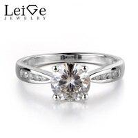 Лейдж ювелирный Brilliant Муассанит кольцо стерлингового серебра 925 круглая огранка Свадебные Обручальные кольца драгоценных камней Ювелирные