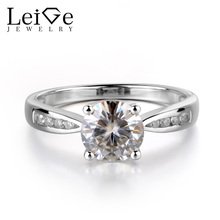 Leige Jewelry Brilliant Moissanite Ring 925 Sterling Silver Round Cut Wedding Engagement Rings Gemstone Fine Jewelry